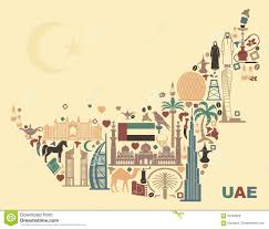 United Arab Emirates Map Map Of United Arab Emirates Onsisting Of The Traditional Symbols