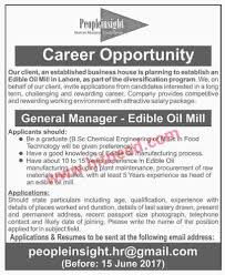 general manager required for ghee mill in islamabad jobs in