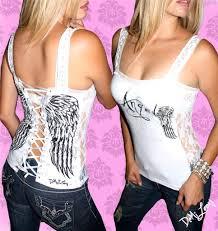 demi loon fallen angel wing tattoo punk biker corset tank top