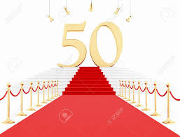 fiftieth anniversary fiftieth anniversary with carpet isolated on white rendering