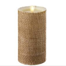 Flameless Candle Sconces With Timer Moving Flame Burlap Wrapped Flameless Candle 3 5 X 7 Timer