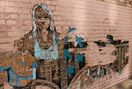 atlanta the old the new the weird the cool ziggyseamstress Eva tells me this is a wheatpaste mural made offsite on brown butcher paper and then pasted to a wall it was in the process of peeling off the wall