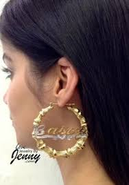 Gold Name Earrings 14k Gold Overlay Gp Bamboo 2 Inch Name Earrings Personalized Pair