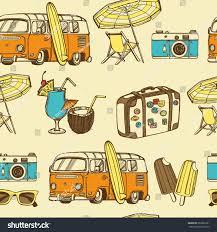 Hawaii travel umbrella images Retro summer vacation seamless pattern hand stock vector 283826351 jpg