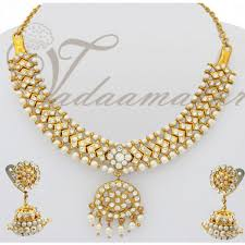 sparkling white stones closed neck necklace indian jewellery