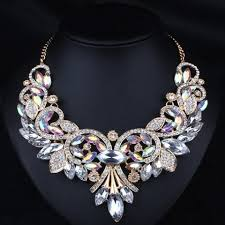 statement necklace white images 2018 diamante rhinestone floral statement necklace white in jpg