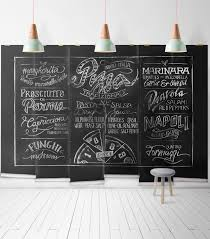 chalkboard pizza themed tyographic mural milton king chalkboard pizza wall mural wallpaper republic