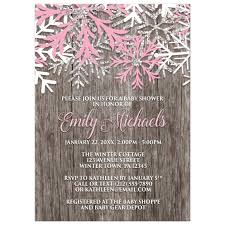 winter baby shower shower invitations pink snowflake rustic winter wood
