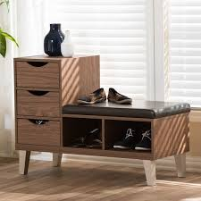 arielle modern 3 drawer shoe storage padded seating bench free