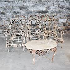 Wrought Iron Patio Chairs Vintage Outdoor Wrought Iron Patio Furniture Set Ebth