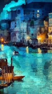 art classic painting water lake night blue iphone 7 wallpaper