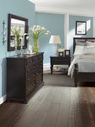 amazing cool wall color with natural wooden furnitures and