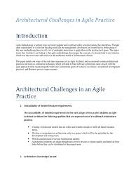 architectural challenges in agile practice agile software