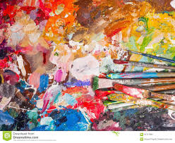 Paint Pallet by Brush And Bright Oil Paint Palette For Background Stock Photo
