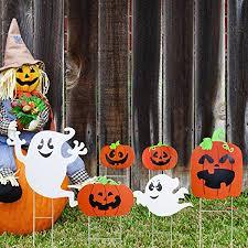 amazon com tinksky ghost and pumpkin yard stake signs halloween