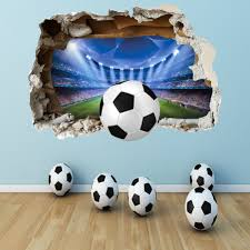 home decor 3d stickers football wall sticker 3d smashed bedroom boys girls stadium wall