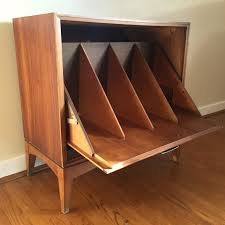 Record Storage Cabinet Mid Century Drop Front Walnut Record Storage Cabinet By Epoch