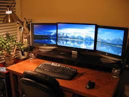 Three Monitor Desk Are Three Monitors Excessive Yes And I U0027m Loving It The Dark Park