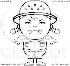 cartoon clipart of a black and white angry safari vector