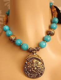 blue necklace images Ganesha pendant blue necklace set antique gold tone necklace set jpg