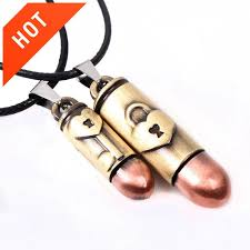 couple necklace images His hers bullet shape pendant necklace lovers couples copper jpg