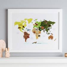 Animal World Map by Animal Map Of The World Illustration Print By Thispaperbook