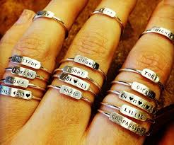 personalized rings stacking rings