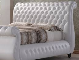 King Size Leather Sleigh Bed Swan White Leather Sleigh Bed Large Chesterfield 6ft Kingsize