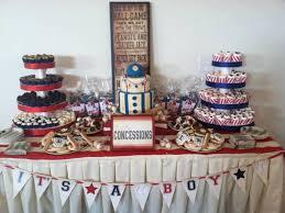 vintage baseball theme dessert bar consisting of mini cupcakes