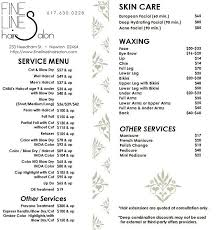hair salons jc penny price list fine lines hair salon menu price list hair pinterest salon