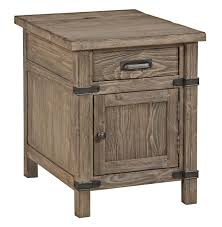 end table with outlet rustic weathered gray chairside table with power outlet by kincaid