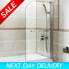 6mm glass 800x1400mm shower screen 180 pivot radius over bath