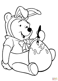 winnie is coloring easter egg coloring page free printable