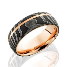 men s damascus steel wedding ring with 14k gold sleeve and