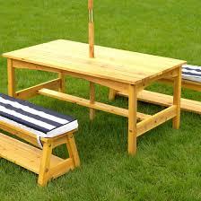 kidkraft outdoor table u0026 bench set with cushions u0026 umbrella navy