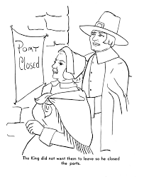 the pilgrims thanksgiving story coloring page drawings