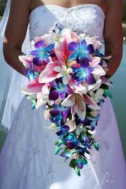wedding flowers singapore cascading lilies and orchids bouquet wedding flower