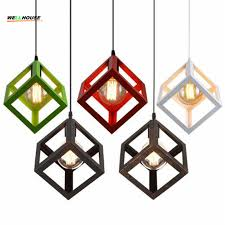 Cafe Pendant Lights Cube Pendant Lights Northern Europe Industrial Iron Lightings For