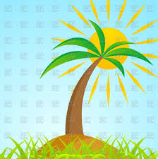 tropical palm tree on grass island with shiny sun vector clipart