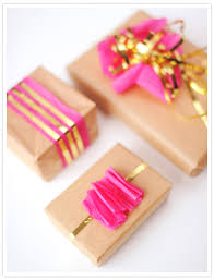 pink gift wrap diy gold accented gift wrap party entertaining ideas