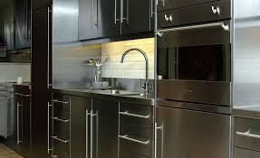 Stainless Steel Brick Backsplash by Appliances Brown Varnished Wooden Base Vabinet Stainless Steel