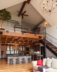 loft above the kitchen and dining room repurposed beams and