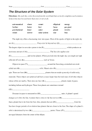 the structure of the solar system worksheet 2