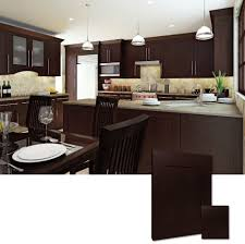 Mocha Shaker Kitchen Cabinets Cute L Shape Espresso Kitchen Cabinets Come With Double Door