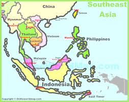 Southeastern Asia Map by Southeast Asia Throughout South East Asian Map Evenakliyat Biz