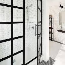 Black Shower Door White Shower Tiles With Black Grout Design Ideas