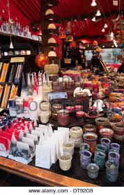 German Christmas Decorations Uk by Market Stall Selling Christmas Candles Christmas Decorations Stock