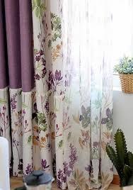 Purple Room Darkening Curtains Waverly Printed Linen Cotton Blend Room Darkening Curtains