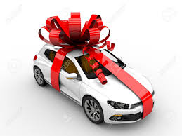 car ribbon modern white car with ribbon like a present stock photo picture