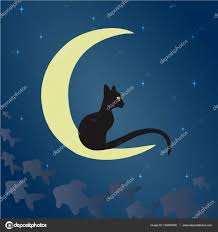 black cat on the moon stock vector yulu 134004348